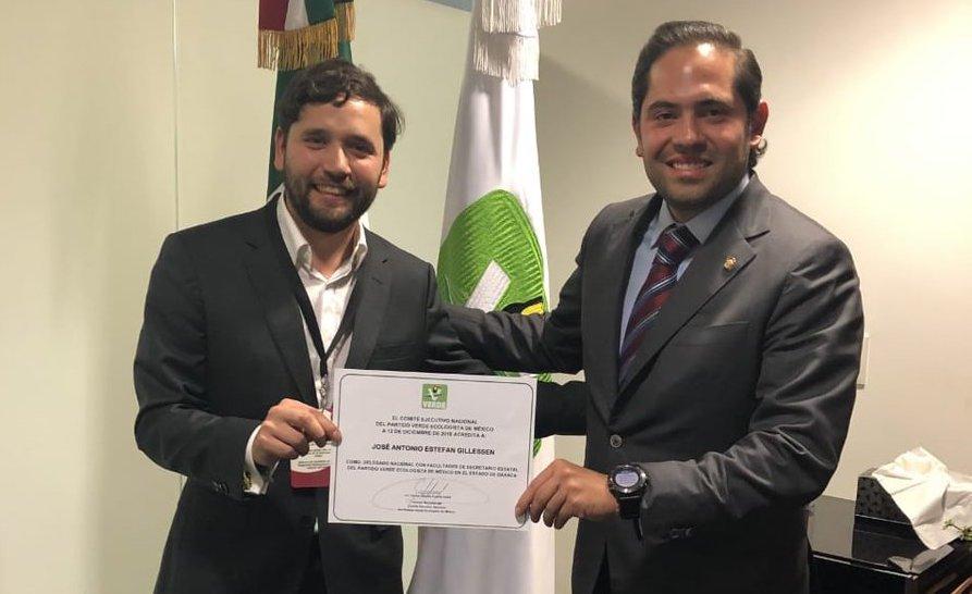 Estefan Guillessen, nuevo Delegado Nacional del PVEM en Oaxaca