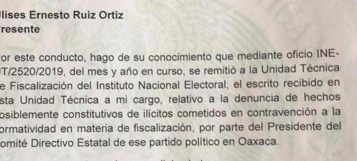 Avanza en el INE denuncia contra CDE del PRI-Oaxaca