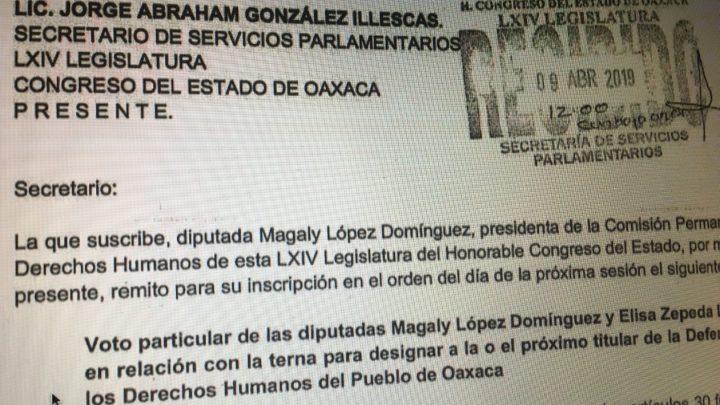 """CRÓNICA EXPRÉS: Magaly y Elisa presentan voto particular en contra de Bernardo; es inelegible, dicen, porque """"abjura"""" la protesta como consejero del Consejo Ciudadano de la DDHPO"""